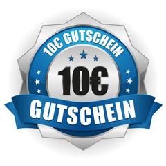 10 Euro Gutschein Siegel in blau-silber