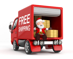 3d cartoon santa claus in truck with cardboard box