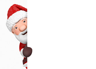 3d cartoon santa claus with blank paper - isolated
