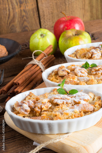Apple Walnut streusel cake