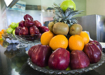 Close-up of assorted fruits on a table, Chennai, Tamil Nadu, India