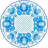 Blue ornate vector plate pattern in Gzhel style