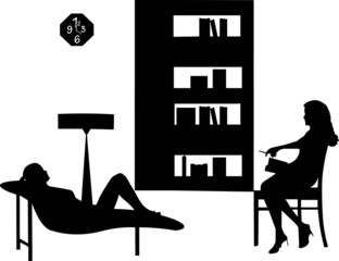 Woman in psychotherapy with a therapist silhouette