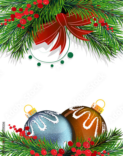 Christmas tree decorations with red bow
