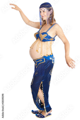 pregnant woman practicing belly dancing