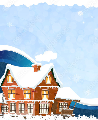 House on a blue background
