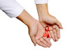 Human Hand Holding Red Ribbon