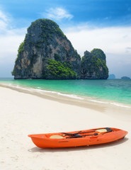 Clear water and blue sky. Beach in Krabi province, Thailand