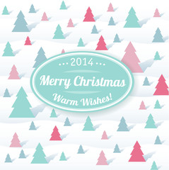 Christmas and new year vector greeting card template.