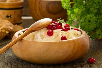 Sauerkraut with cranberries.