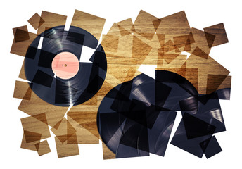 retro records collage
