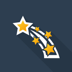Shooting star icon with long shadow on midnight blue background
