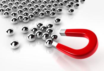 Magnet und Stahlkugeln
