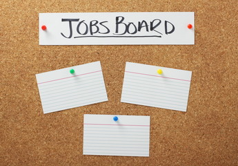 Jobs Notice Board with white note cards