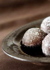 Closeup of chocolate truffles.