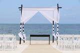 Wedding canopy and chairs on the beach