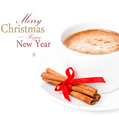 Christmas Hot Chocolate isolated on white background.