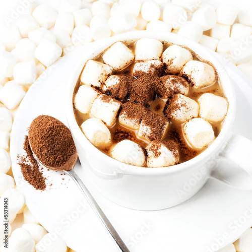 Cup of hot cocoa with chocolate and marchmallows on white backgr