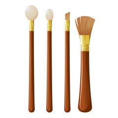 Cosmetic brushes. Vector.