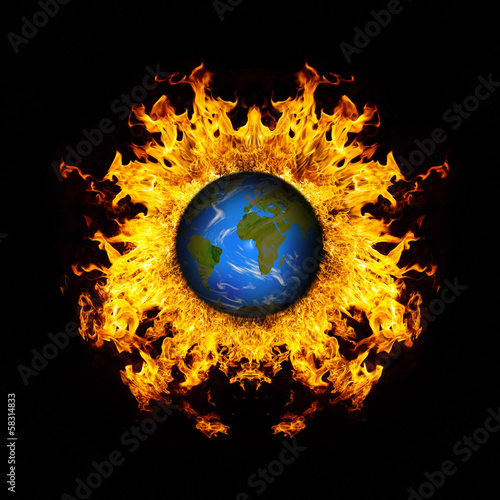 Apocalyptic background - planet Earth exploding