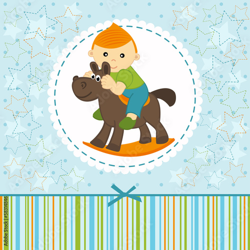baby boy riding on the horse - vector illustration