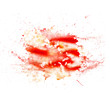 abstract watercolor blot texture patch of red isolated on white