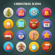 Round Bright Icons with Long Shadow: Christmas