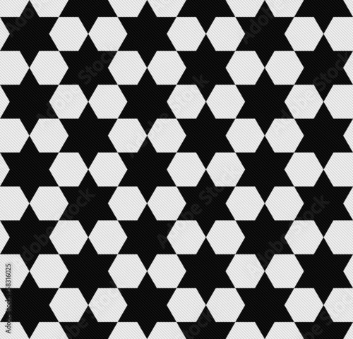 Black and White Hexagon Patterned Textured Fabric Background