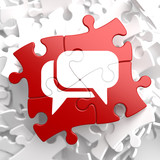 White Speech Bubble Icon on Red Puzzle.