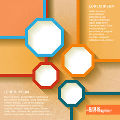 Infographics geometrical background with vintage octagons. Eps10