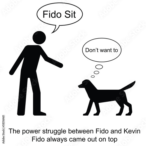 Kevin commands Fido to sit