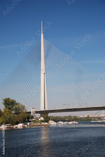 Pylon bridge over Ada, Belgrade - Serbia