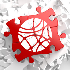 Social Network Icon on Red Puzzle.