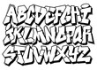 Classic street art graffiti font type. Vector alphabet