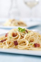 spaghetti carbonara with bacon, eggs and cheese.