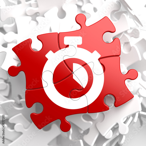 Stopwatch Icon on Red Puzzle.