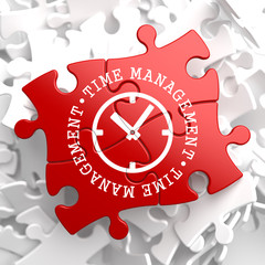 Time Management Concept on Red Puzzle.