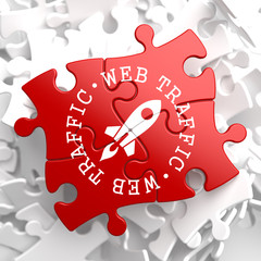 Web Traffic Concept on Red Puzzle.