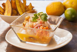 Ceviche Peruano with sweet fried potatoes