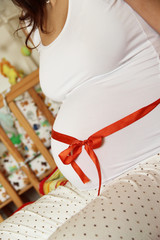 Beautiful pregnant woman tummy