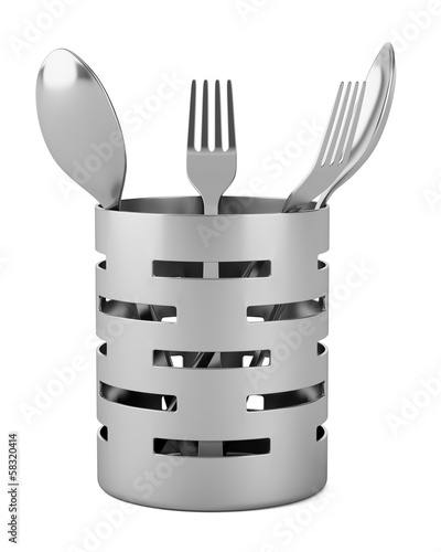 cutlery drainer with forks and spoons isolated on white backgrou