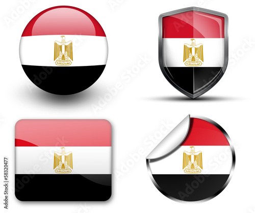 Egypt flag button sticker and badge