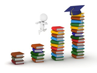 3D Man studying concept with books and graduation cap