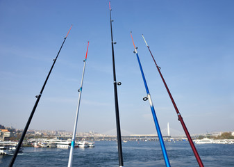 Fishing rods on the Galata Bridge