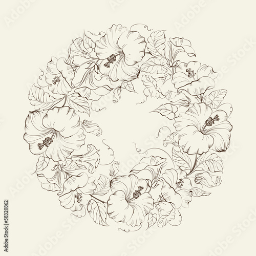 Hibiscuses wreath background.