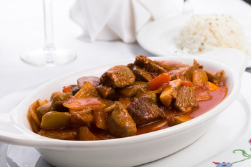 Beef Stew Served with Side White Rice Pilaf