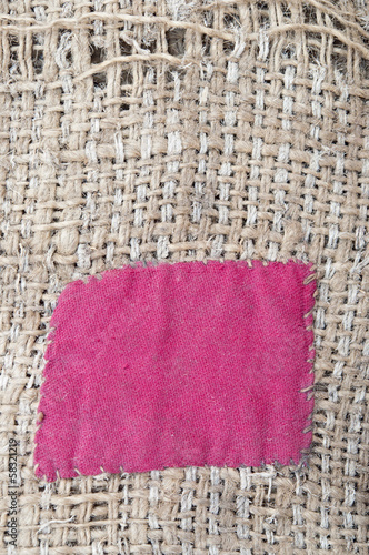 Burlap with red patch