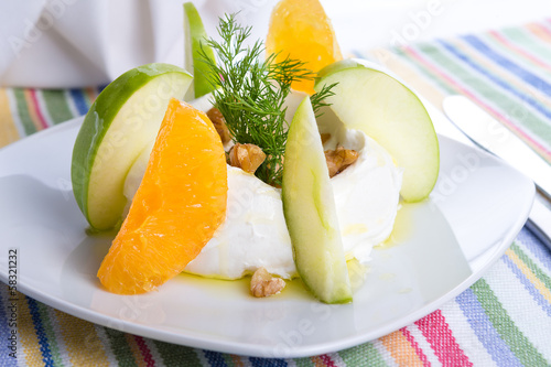 Strained Yogurt Labneh Citrus Salad Garnished with Dill and Waln