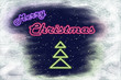 "Neon signboard ""Merry Christmas"" and neon Christmas tree"