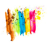 spot blue rainbow blue green yellow red brown watercolor blotch